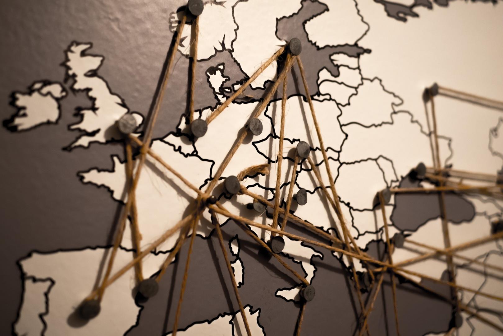 Carte de l'Europe qui montre les liens entre les différents pays
