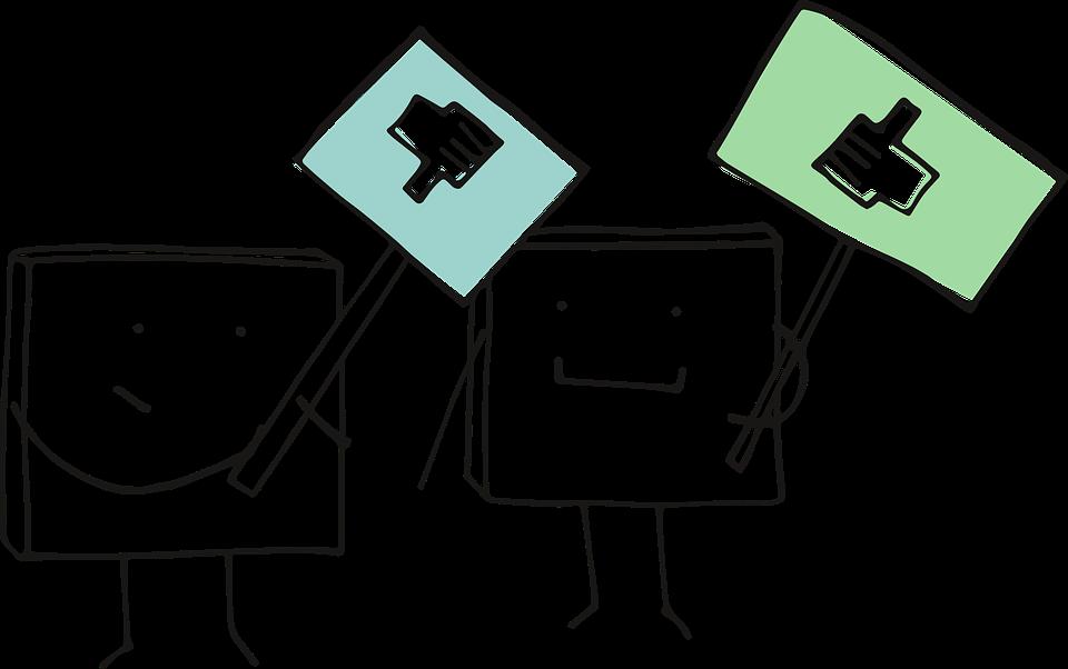 image avec deux icônes pour formuler un retour : bon ou négatif
