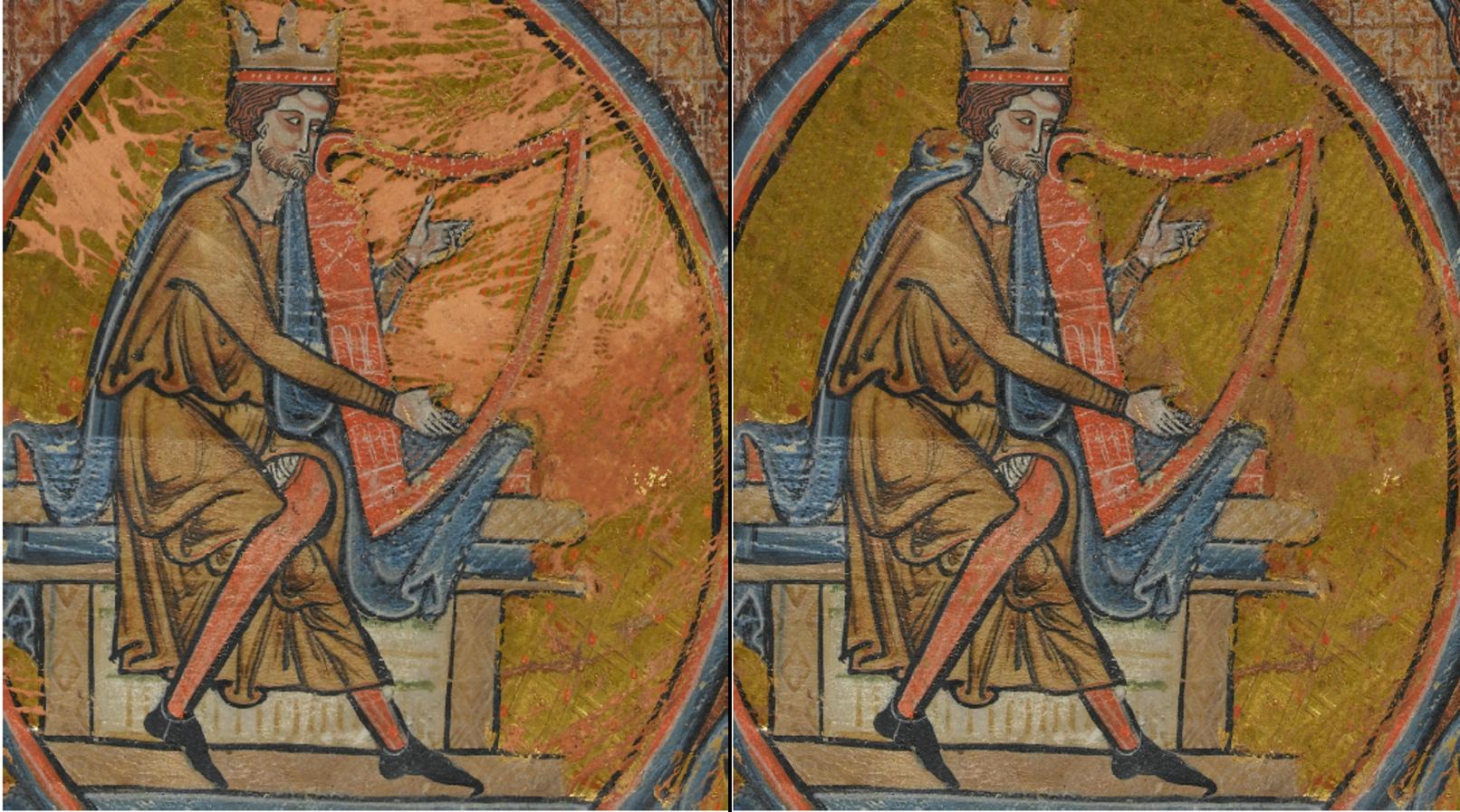 Image d'une restauration digitale d'un manuscrit enluminé conservé au musée Fitzwilliam de Cambridge (RU)